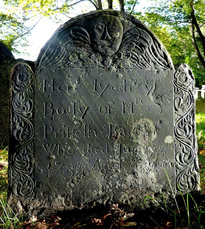 ombstone of Priscilla Symonds Baker at the Old North Burying Ground in Ipswich