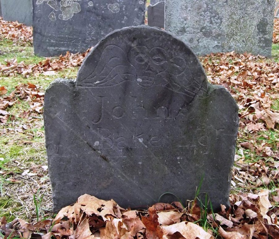 Tombstone of Col. John Baker, 1734, at the Old North Burying Ground in Ipswich