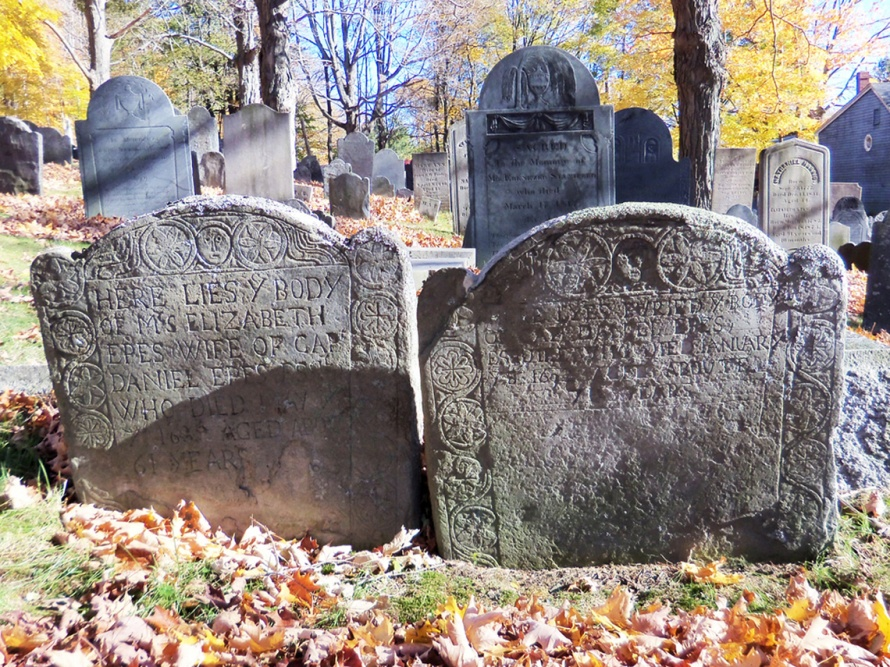 Two 17th Century gravestones at the Ipswich Old North Burying Ground, Captain Daniel Eppes and his wife Elizabeth