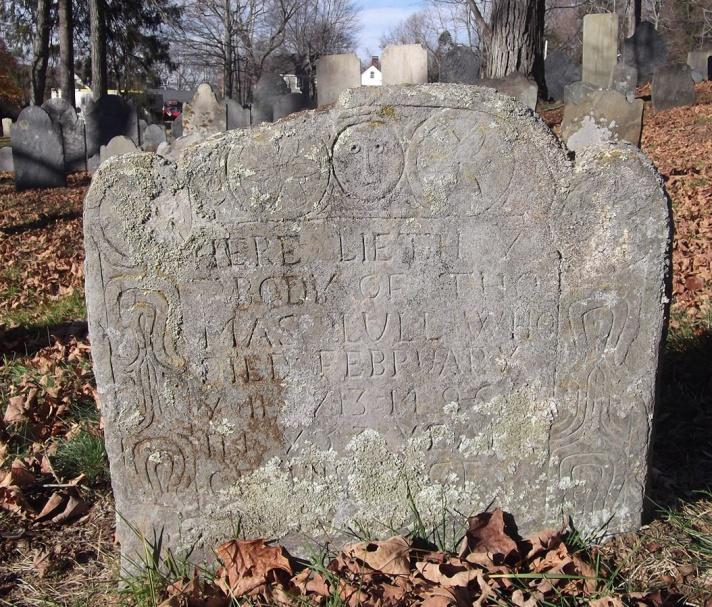 The tombstone of Thomas Lull (2) son of Thomas Lull the settler.