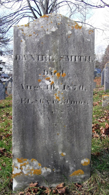 Tombstone of Daniel Smith at the Old North Burying Ground in Ipswich