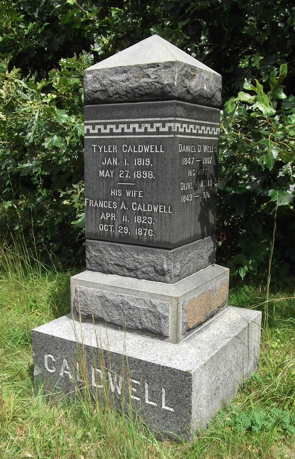 Tombstone of Tyler and Frances Caldwell, and Daniel and Olive Wells, Ipswich MA