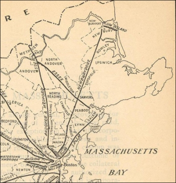 Old map of the Newburyport Turnpike