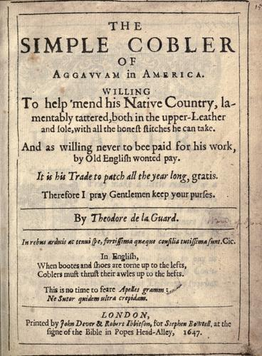 Simple Cobbler of Ipswich by Nathaniel Ward