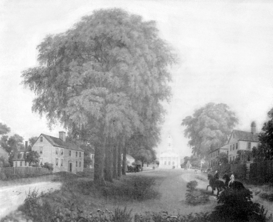 Painting of the Ipswich South Green circa 1840
