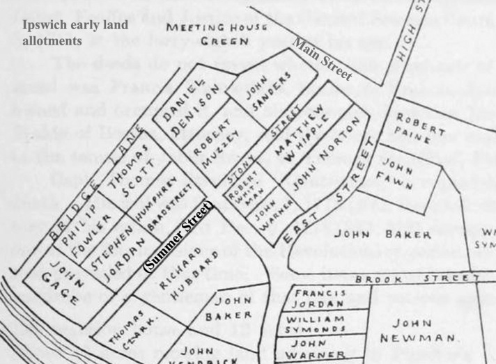 Map of the early lot assignments, from the book Ipswich in the Massachusetts Bay Colony.