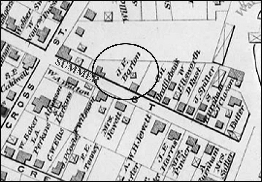 1884 map of Ipswich, with closeup of Summer St.