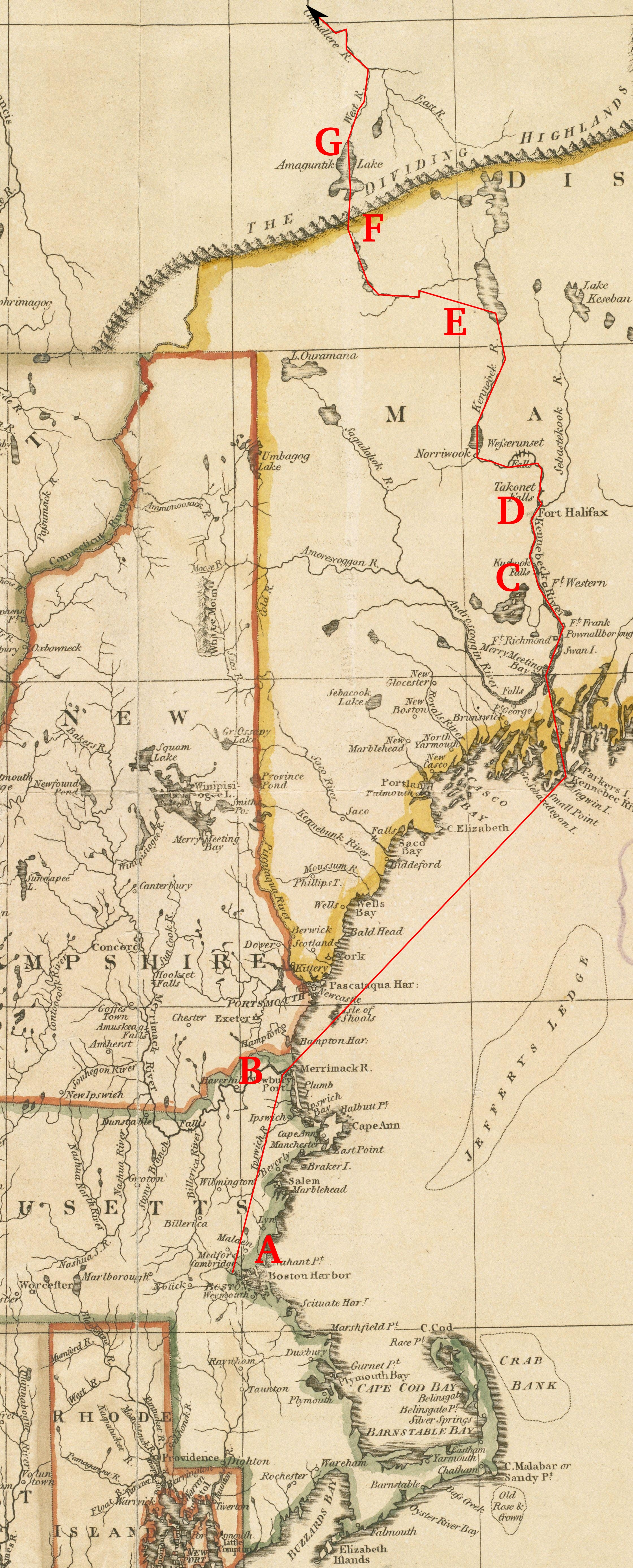 Route of Arnold's expedition