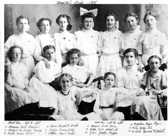 Hospital Girls, 1908. Front Row left to right, Frances Hull Frazier, Beatrice Huntington Murry, Ruth Dodge Dolan, Harriet Robinson, Irene Brackett Smith, Velma Cannery Curtis and Althea Nason Wilder. Back row, left to right: Marion Buck Ross, Hilda Joyce Schofield, Olive Dexter Martin, Grace Trask Hill, Madeline Hayes Tozer, Nellie Judge Cole, Mildred Howard Mitchell.