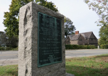 """This memorial sits in the intersection between the South Green and the site of the former South Congregational Church in Ipswich. It reads, """"The expedition against Quebec, Benedict Arnold in command, Aaron Burr in the ranks, marched by this spot, September 15, 1775."""