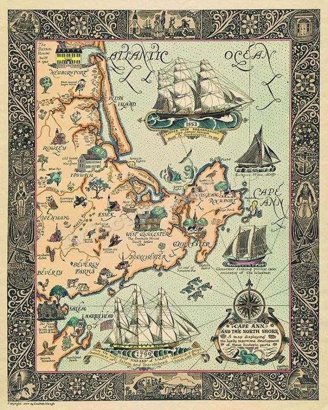 Old map of Cape Ann