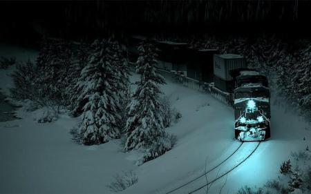 """Night Train in the Snow"" (Courtesy of desktopimages.com)"