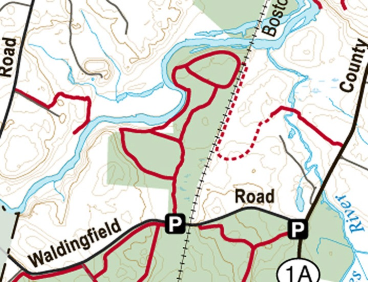 Julia Bird Reservation, map provided by Essex County Trail Association
