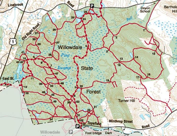 Willowdale State forest trail map Ipswich MA