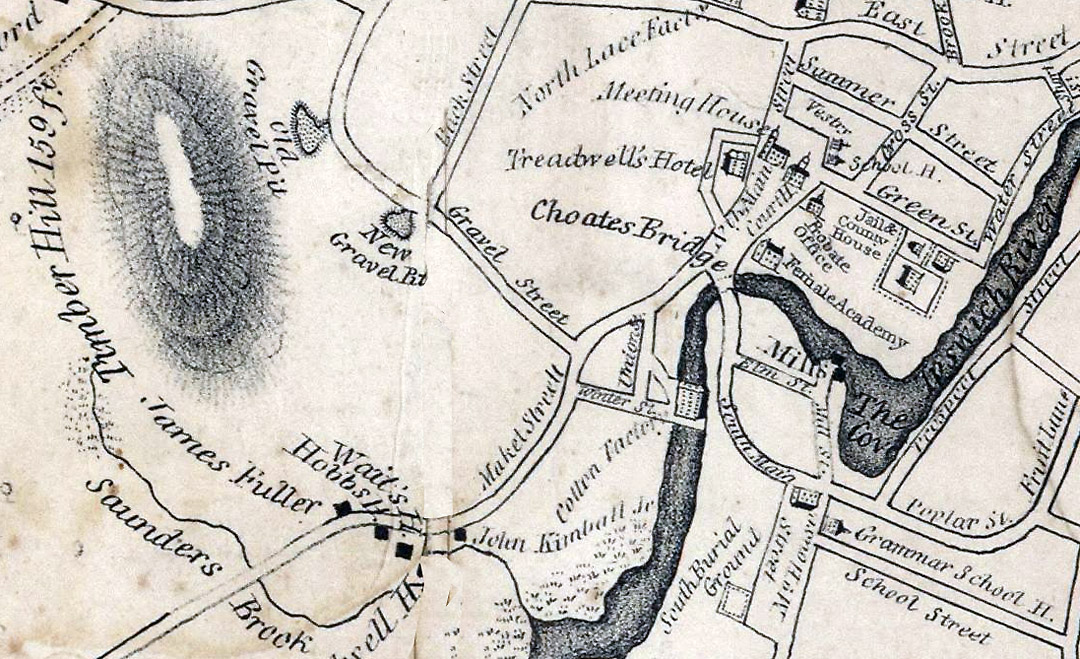 Closeup of the Mill District from the 1832 Ipswich map
