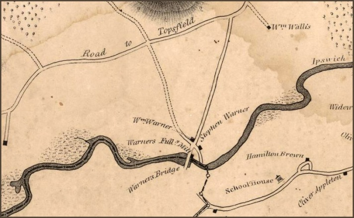Closeup from the 1832 Philander map of Ipswich. Mill Rd. had been recently laid out, and the William Warner house sat at the intersection of Mill Rd. and the old road. The house was later moved further down the old road which serves as its driveway.