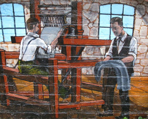 Portrayal of James and Sanford Peatfield on the Riverwalk Mural
