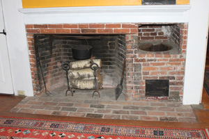 fireplace in the Nathaniel Wade house, Ipswich MA