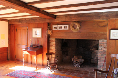 Wilcomb house Ipswich MA fireplace and beams