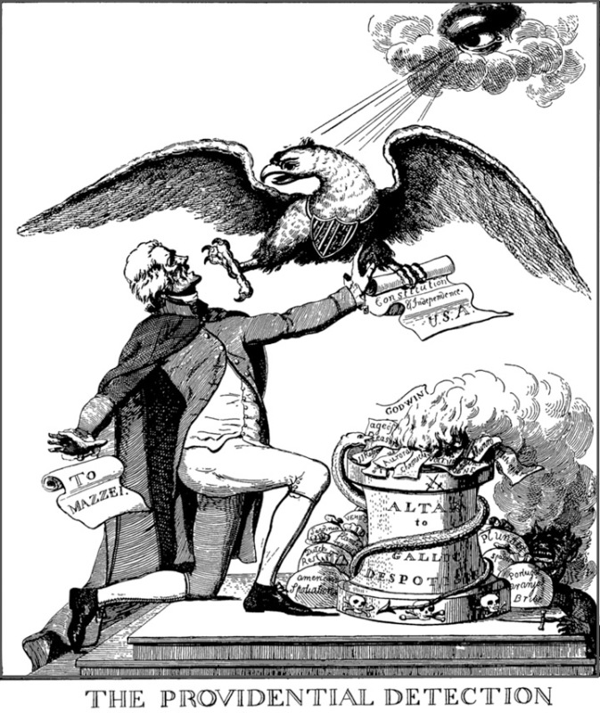 A Federalist newspaper published this cartoon, portraying Jefferson as trying to burn the Constitution