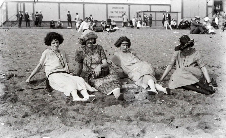 Women on Boston beach early 20th Century