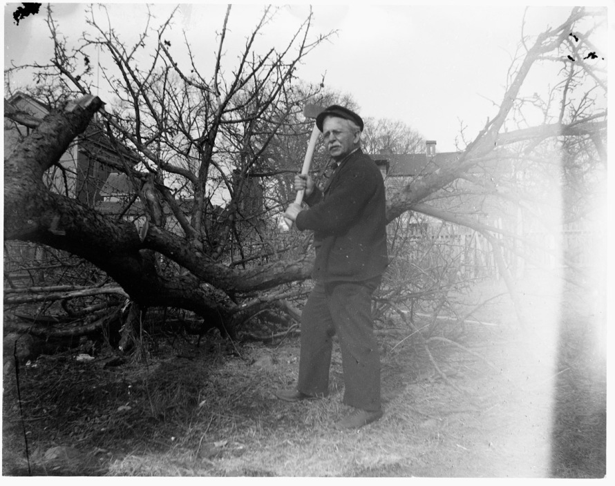 Man with ax historic photo Ipswich MA