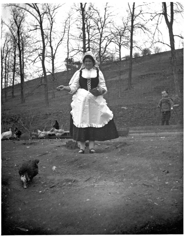 Lady with chickens