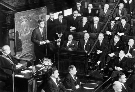 JFK addressed the Irish Parliament at Leinster House where he presented the flag of Irish patriots who served in the American Civil War.