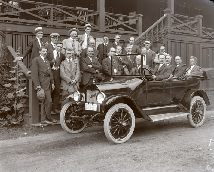 Men in a car, early photos from Ipswich Massachusetts