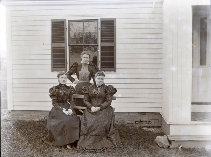 Three women sit for portrait, early photos from Ipswich Massachusetts