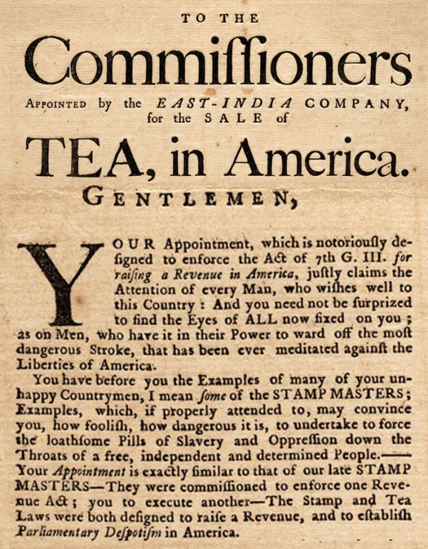 To he Commissioners appointed by the East India Company for the Sale of Tea in America