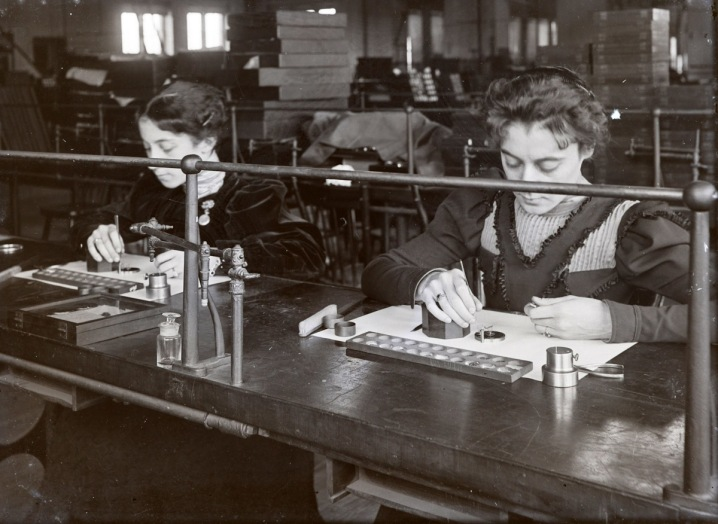 Women doing hand work in a factory, early photos from Ipswich Massachusetts