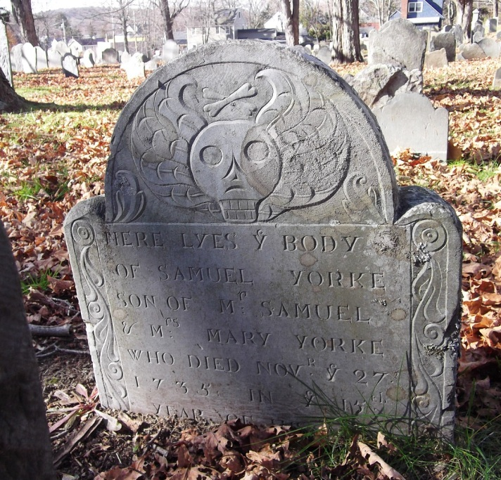 Old North Burying Ground Ipswich: Samuel York, age 15, died Nov. 27, 1735. Son of Samuel Yorke and Mary. Photo by John Glassford