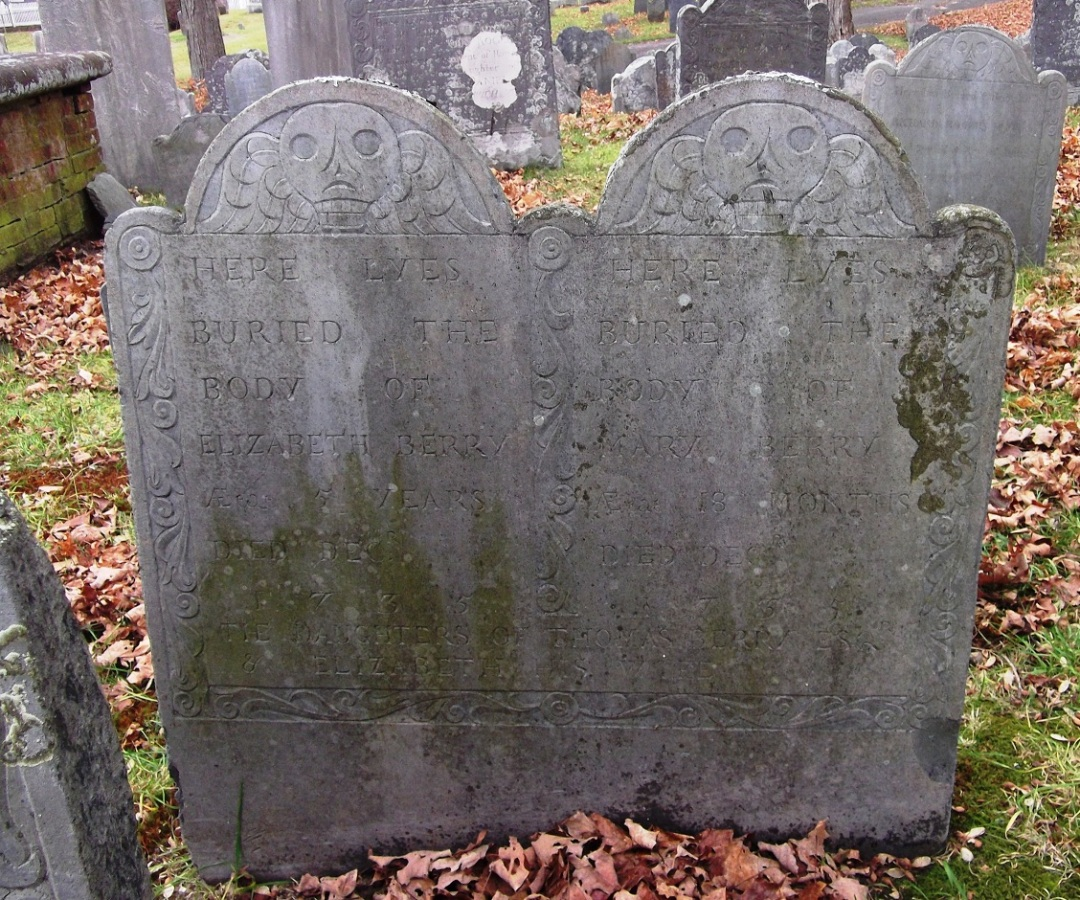Tomstone of Elizabeth and Mary Berry, daughters of Dr. Thomas Berry, who both died in 1735.