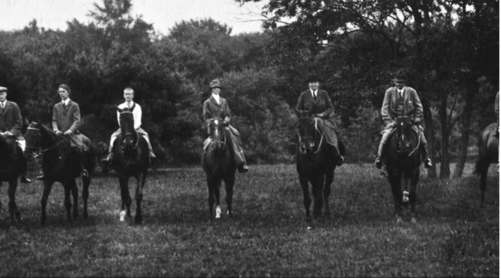 Mrs. Rice with horses at Turner Hill, Ipswich