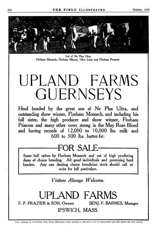 Upland Farms Ipwich ma, F. P. Frazier and Sons owners