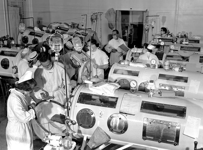 Polio ward with iron lung respirators at Haynes Memorial Hospital in Boston, 1955. Photo courtesy The March of Dimes.