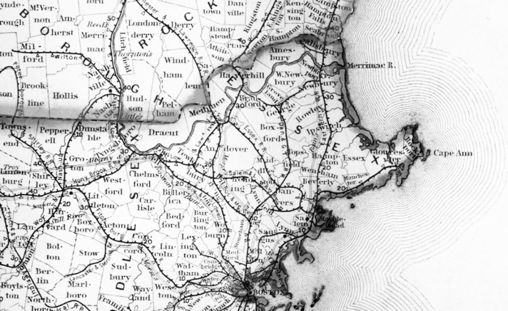1854 map shows telegraph lines followed the Eastern Railroad from Boston through Ipswich and continuing to Portland.