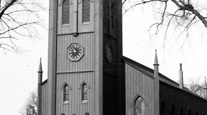 Clock on First Church in Ipswich 1930