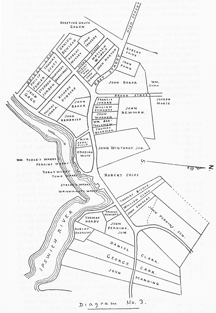 Map of early settlers of Ipswich