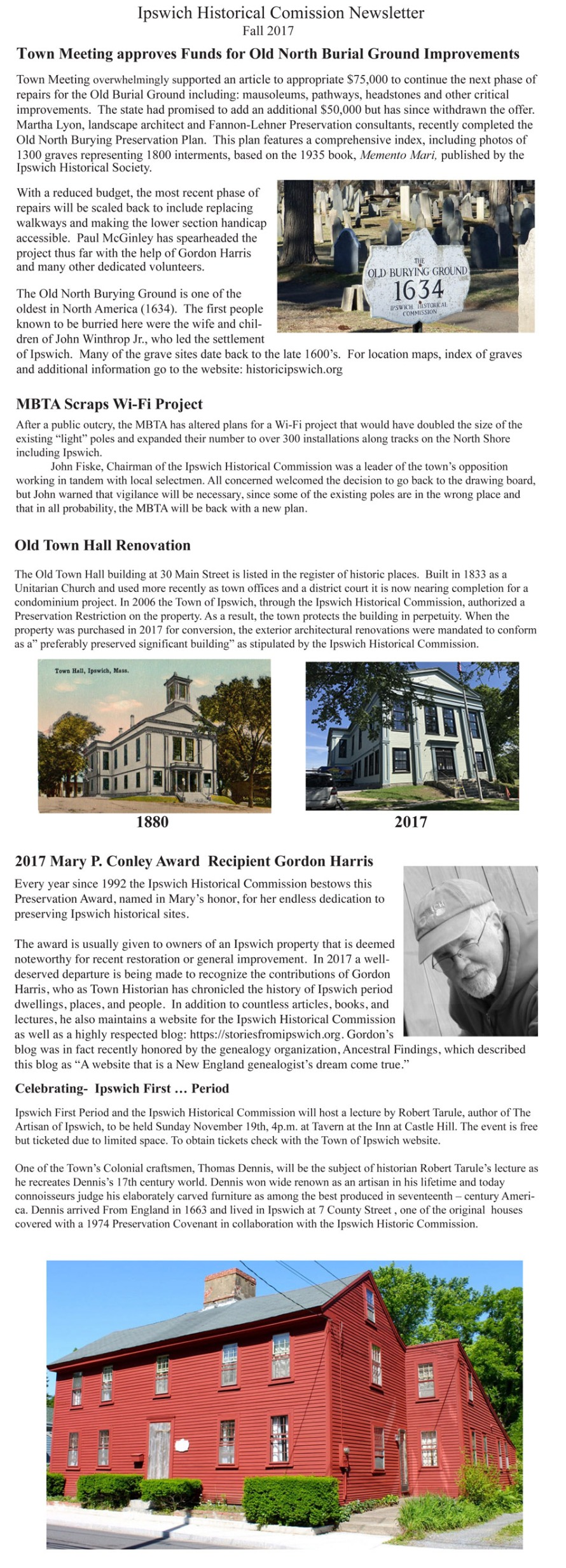 Ipswich Historical Commission newsletter fall 2017