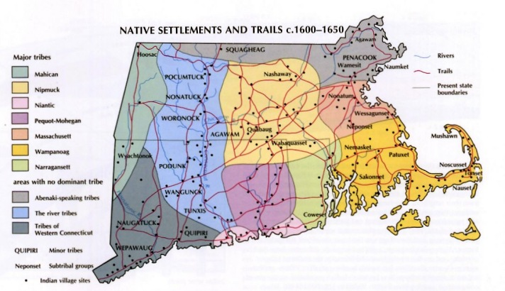 Native American settlements and trails in Massachusetts