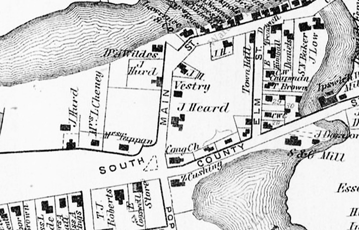 The 1872 Ipswich map shows a vestry to the left of the Heard House.