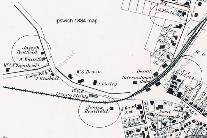 1884 Ipswich map showing Joseph Peatfield's nursery