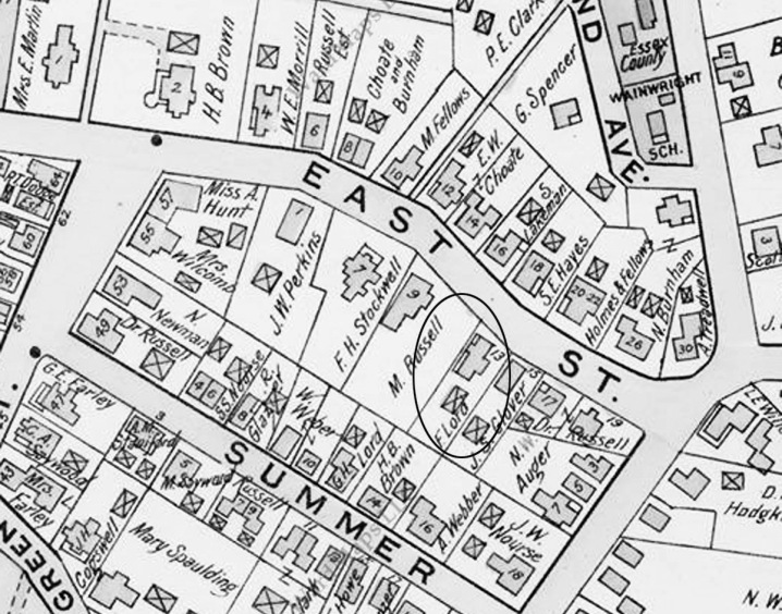 1910 Ipswich map shows the F. Lord house at 13 East St.