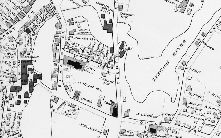 The 1884 Ipswich map shows the South Church meeting house,