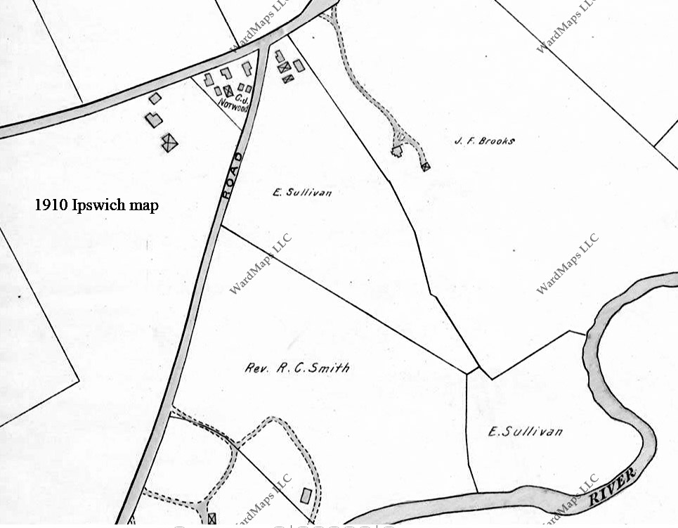 1910 Ipswich map of Mill Rd.