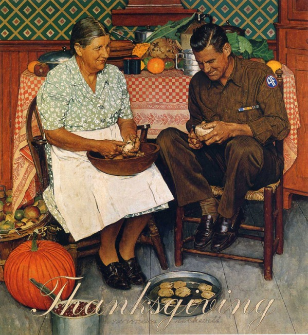 Norman Rockwell, Mother and son peeling potatoes