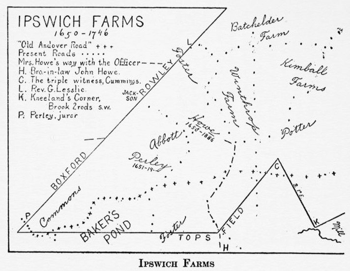 Map of Ipswich Farms in Linebrook Parish
