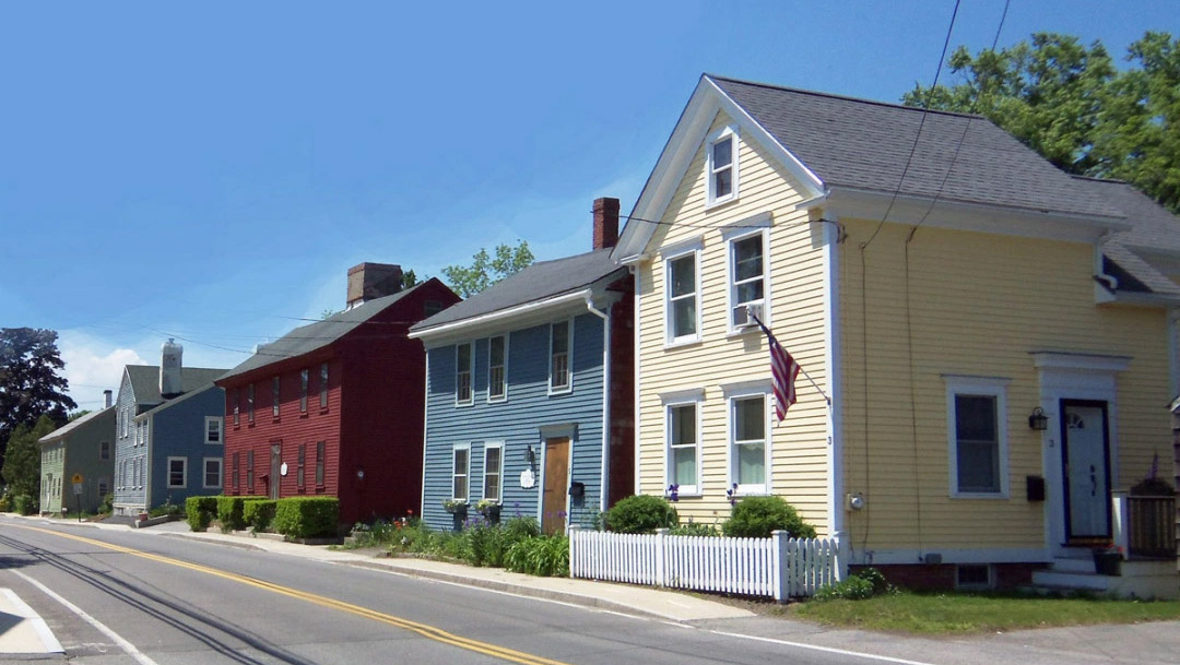Historic houses on County Street in Ipswich